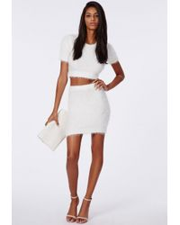 Missguided | Natural Alycia Fluffy Knit Cropped Jumper Cream | Lyst
