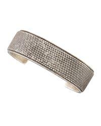 Eddie Borgo - Metallic Mens Wide Silvertone Knurled Cuff Bracelet - Lyst