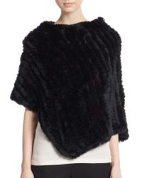 Saks Fifth Avenue - Black Knitted Rex Rabbit Fur Poncho - Lyst