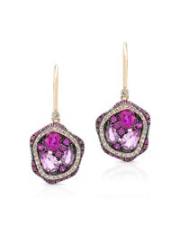 Anne Sisteron | Metallic 14kt Yellow Gold Ruby And Pink Sapphire Cluster Earrings | Lyst