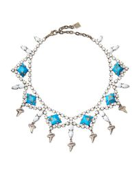 DANNIJO - Blue Dane Shark-tooth Crystal Collar Necklace - Lyst
