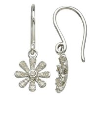 Lord & Taylor | Metallic 14kt. White Gold And Diamond Flower Drop Earrings | Lyst