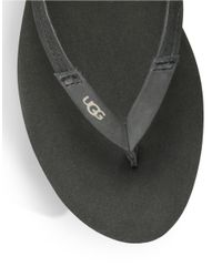 Ugg | Black Magnolia Leather Thong Sandals | Lyst