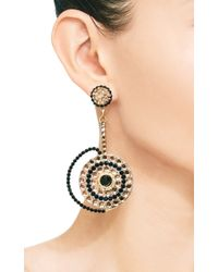 Carole Tanenbaum - Metallic S Unsigned Black and Gold Flat Backed Stones Shoulder Duster Earrings - Lyst