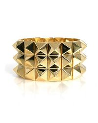 Noir Jewelry | Metallic Pyramid Stretch Three Row Bracelet | Lyst