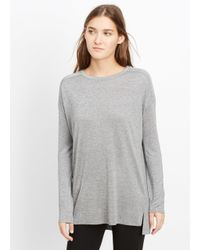 Vince - Gray Mouline Knit Drop Shoulder Top - Lyst