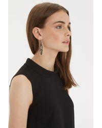Oasis | Black Organic Link Drop Earrings | Lyst