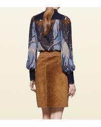 Gucci - Blue Fantasy Print Embroidered Silk Shirt - Lyst