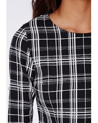 Missguided - Carly Crepe Check Tailored Playsuit Black - Lyst