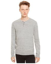 Kenneth Cole Reaction | Gray Marled Slub Henley Sweater for Men | Lyst