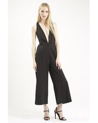 cd44edee5eb TOPSHOP Low V Front Culotte Jumpsuit By Oh My Love in Black - Lyst