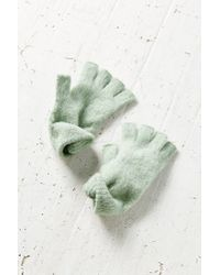 Urban Outfitters - Green Brushed Fuzzy Fingerless Gloves - Lyst