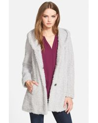 Jessica Simpson | Metallic Hooded Faux Fur Coat | Lyst