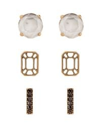 Lucky Brand | Metallic Stone And Spakle Stud Earrings Set | Lyst
