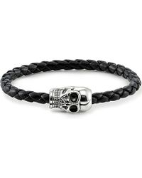 Thomas Sabo - Black Unity Plaited Leather Skull Head Bracelet for Men - Lyst