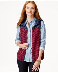 Tommy Hilfiger | Red Hooded Striped Vest & Tote Bag Gift Set | Lyst