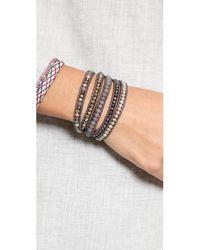 Chan Luu - Beaded Wrap Bracelet  Pyrite Mixnatural Grey - Lyst