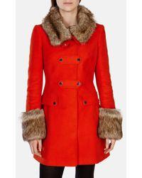 Karen Millen - Orange Moleskin & Faux Fur Coat - Lyst