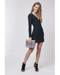 TOPSHOP | Blue V-neck Glitter Bodycon Mini Dress | Lyst