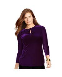 Ralph Lauren | Purple Velvet Keyhole Top | Lyst