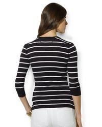 Lauren by Ralph Lauren | Black Long Sleeved Striped Crewneck Henley | Lyst
