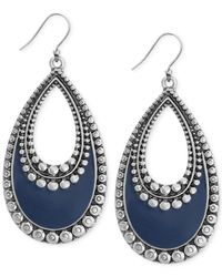 Lucky Brand | Metallic Silver-tone Navy Teardrop Earrings | Lyst