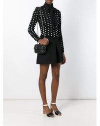RED Valentino - Black Eyelet Embellished Shoulder Bag - Lyst