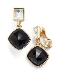 Anne Klein | Metallic Cushion Cut Clip Earrings | Lyst