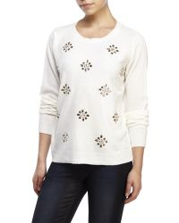 U.S. POLO ASSN. - White Embellished Sweater - Lyst
