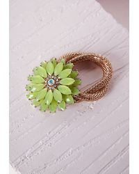 Missguided | Green Statement Floral Bracelet Yellow | Lyst