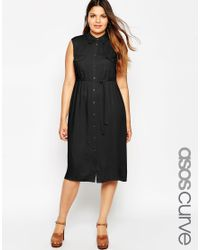 ASOS - Black Belted Shirt Midi Dress With Pockets - Lyst