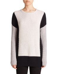 VINCE | White Colorblock Intarsia Wool/cashmere Sweater | Lyst