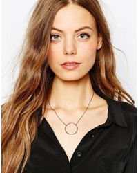 Pieces - Metallic Brooklin Open Circle Necklace - Lyst