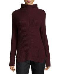 Vince - Purple Directional-rib Turtleneck Sweater - Lyst