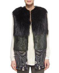 Etro - Green Two-tone Fur Vest With Paisley-print Contrast - Lyst