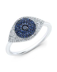 Anne Sisteron | Metallic 14kt White Gold Diamond And Blue Sapphire Evil Eye Ring | Lyst