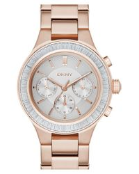DKNY Pink 'chambers' Crystal Bezel Bracelet Watch for men