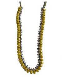 Ben-Amun - Yellow Blue And Olive Bead, Cord And Chain Necklace - Lyst