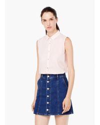 Mango - Pink Cotton Shirt - Lyst