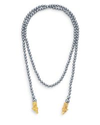 Kenneth Jay Lane - Gray Illuminating Beaded Ram Necklace - Lyst