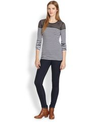 Bailey 44 - Mesh-Paneled Striped Stretch Jersey Top - Lyst