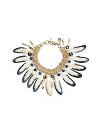 Haus Of Topper - Metallic Feather And Chainmaille Bracelet - Lyst
