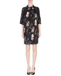 MSGM - Black One Shoulder Printed Mini Dress - Lyst