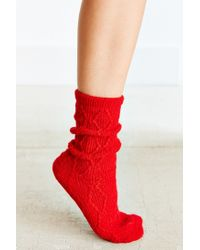 Urban Outfitters | Red Braided Diamond Boot Sock | Lyst