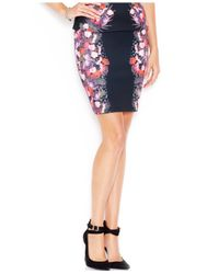 Guess | Black Printed Scuba Pencil Skirt | Lyst