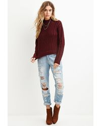 Forever 21 | Purple Boxy Mock Neck Sweater You've Been Added To The Waitlist | Lyst