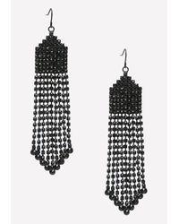 Bebe - Black Fringe Statement Earrings - Lyst