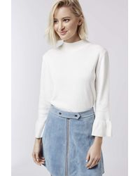 TOPSHOP - White Fluted Cuff Top - Lyst