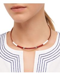 Tory Burch - Red Multi-Color Skinny Collar Necklace - Lyst