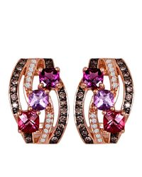 Le Vian - Pink 14k Rose Gold Multi Diamond Earrings - Lyst